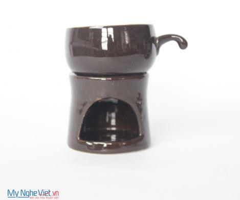 Bếp đun cafe gốm sứ nâu bóng MNV-BD02