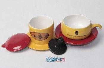 Phin cafe gốm in logo số 2 MNV-CL002