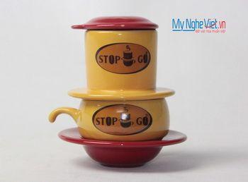 Phin cafe gốm in logo số 1 MNV-CL001