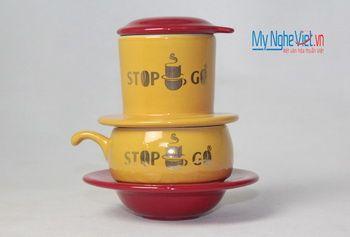 Phin cafe gốm in logo số 3 MNV-CL003