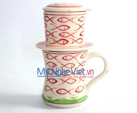 Phin Cafe Gốm Vẽ Cá Đỏ Cao MNV-CFC09