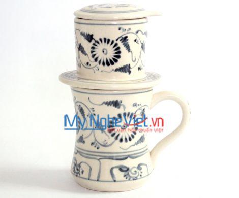 Phin cà phê ca eo vẽ cúc xanh  MNV-CFC04