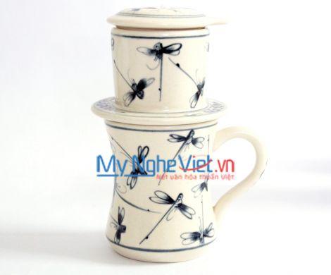 Phin cà phê ca eo vẽ chuồn kim xanh MNV-CFC06