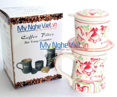 Phin cà phê ca eo vẽ sen đỏ MNV-CFC10