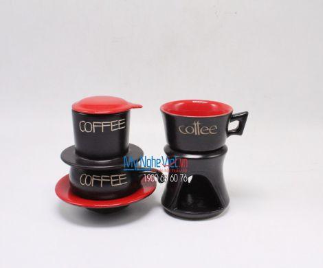 Combo Phin Cafe + Bếp đun màu đỏ MNV-CF001 đỏ
