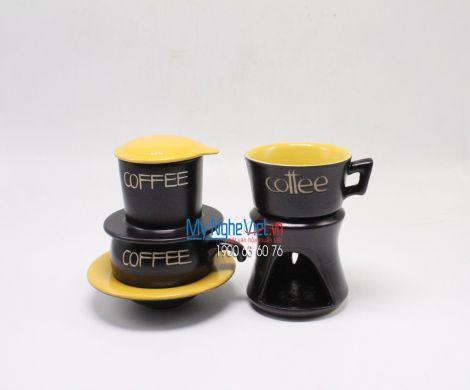Combo Phin Cafe + Bếp đun màu vàng MNV-CF001 vàng