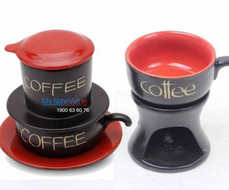 Combo Phin Cafe + Bếp đun màu đỏ MNV-CF0011/2CB