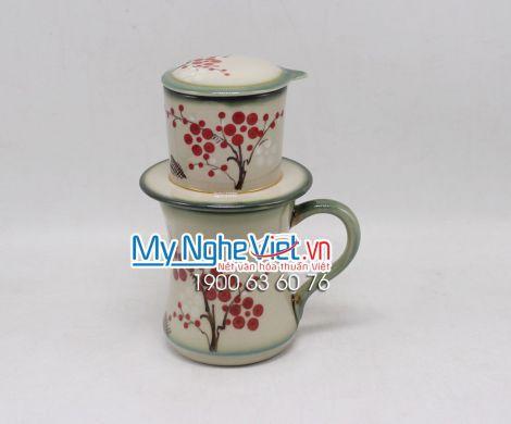 Phin Cafe Men Bóng Vẽ Đào Đỏ MNV-CFV002-1