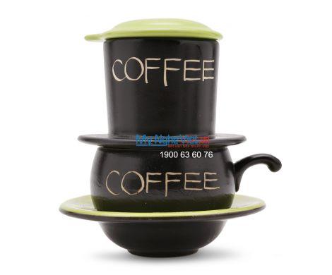 Phin Cafe Gốm Màu Xanh Thấp MNV-CF001/1