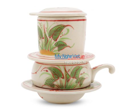 Phin Cafe Gốm Vẽ Chuồn Khoai Đỏ Thấp MNV-CF003/2