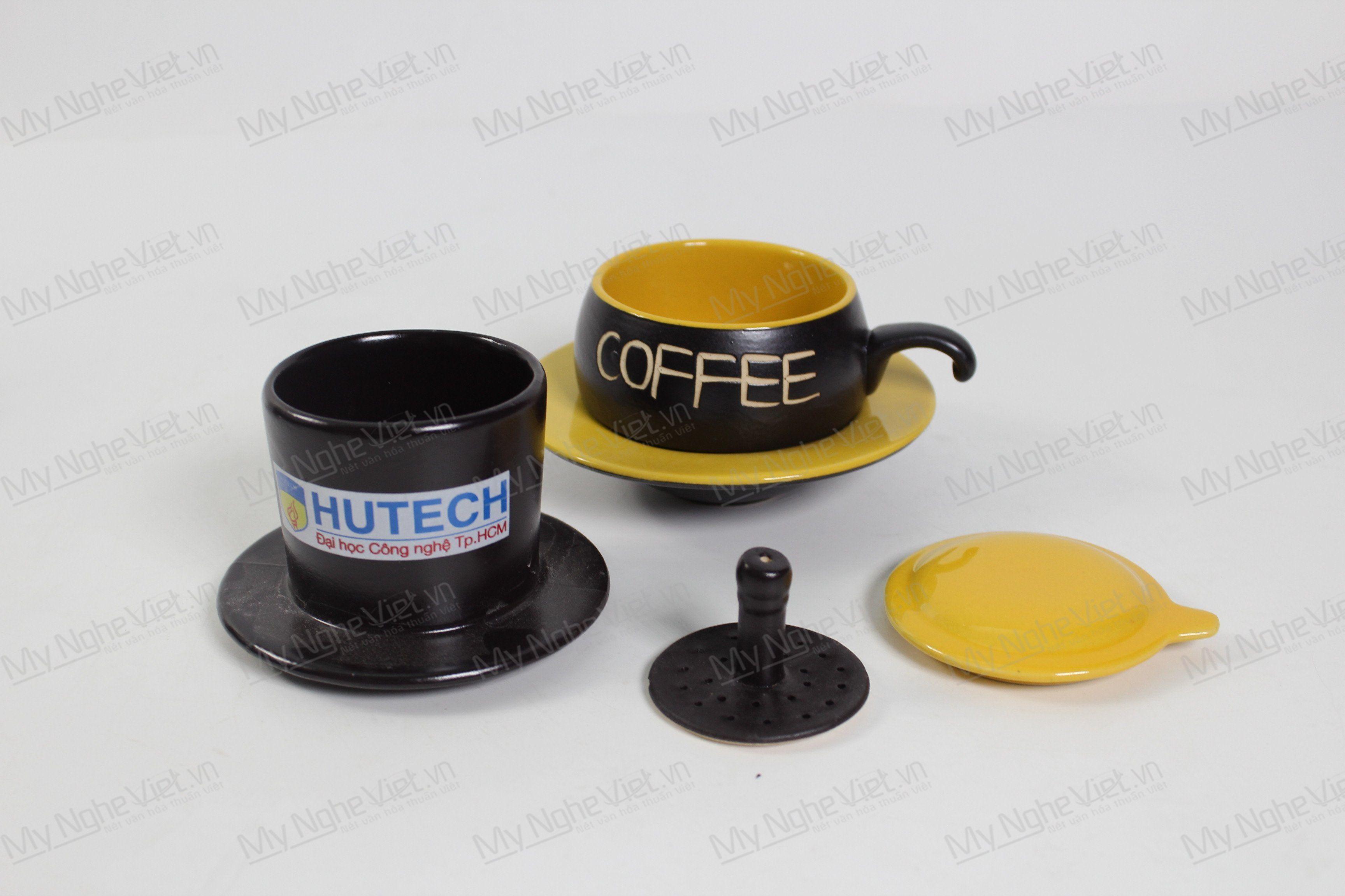 Phin Cafe Gốm In Logo Màu Vàng Thấp MNV-CF04