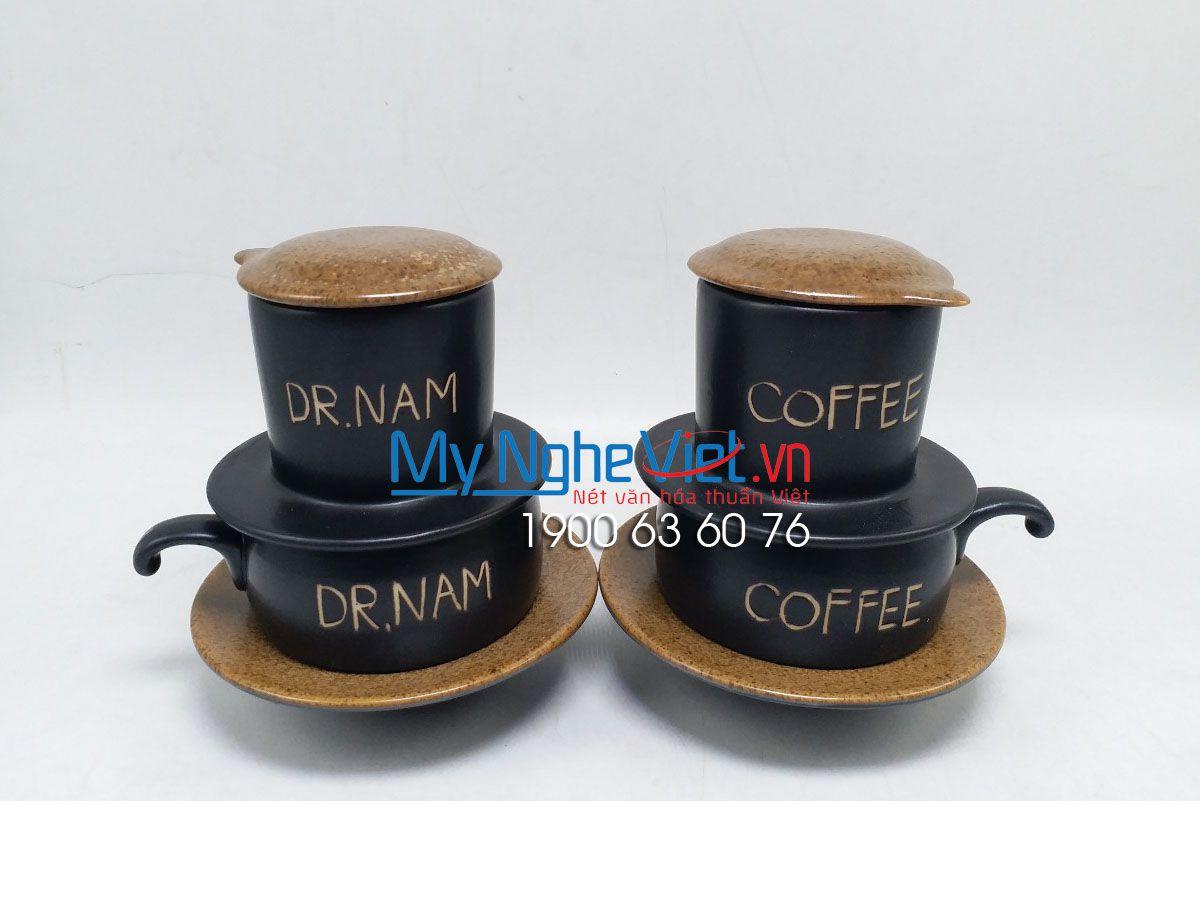 Phin cafe gốm thấp màu nâu logo khắc tay