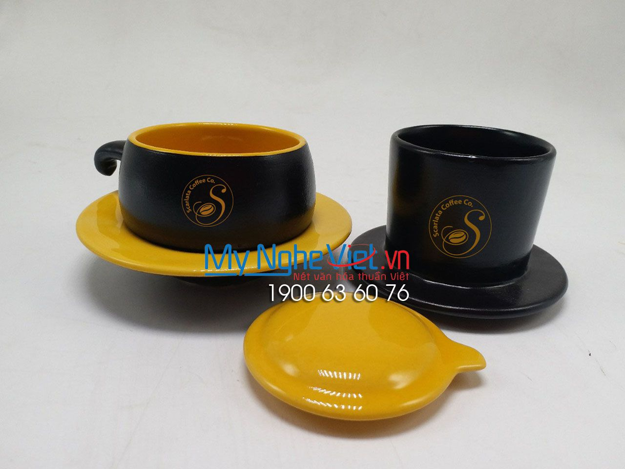 Phin cafe gốm thấp màu vàng Coffee