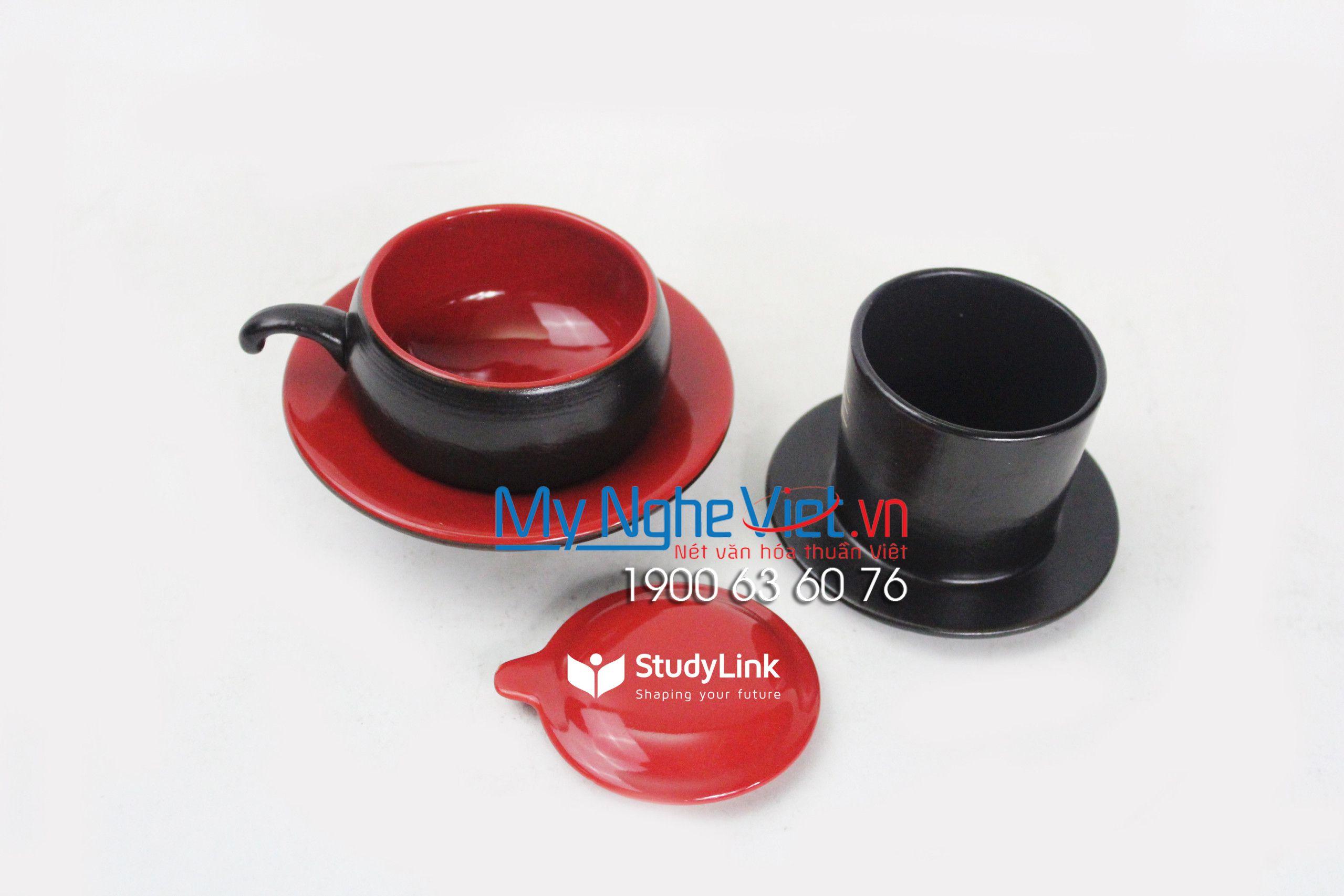 Phin cafe gốm thấp màu đỏ Bitex