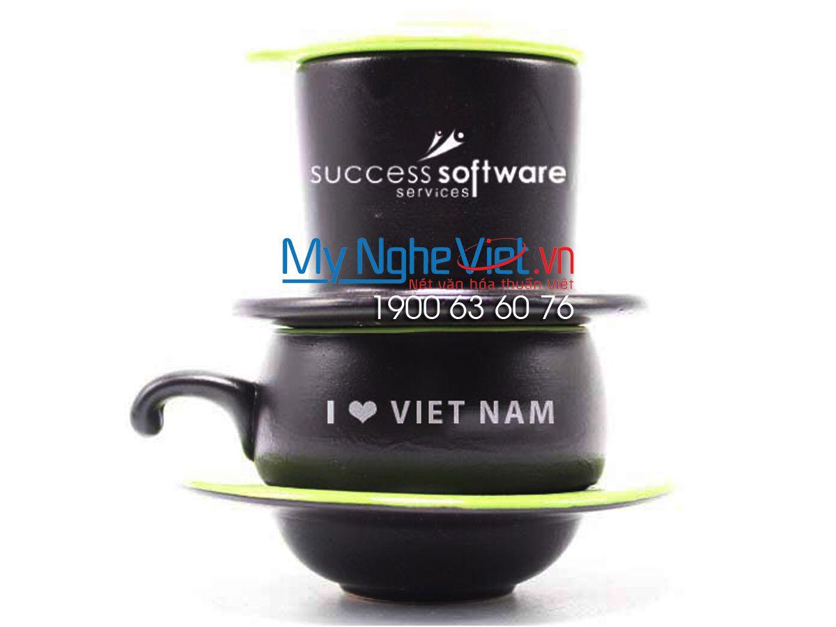 Phin cafe gốm thấp màu xanh Software