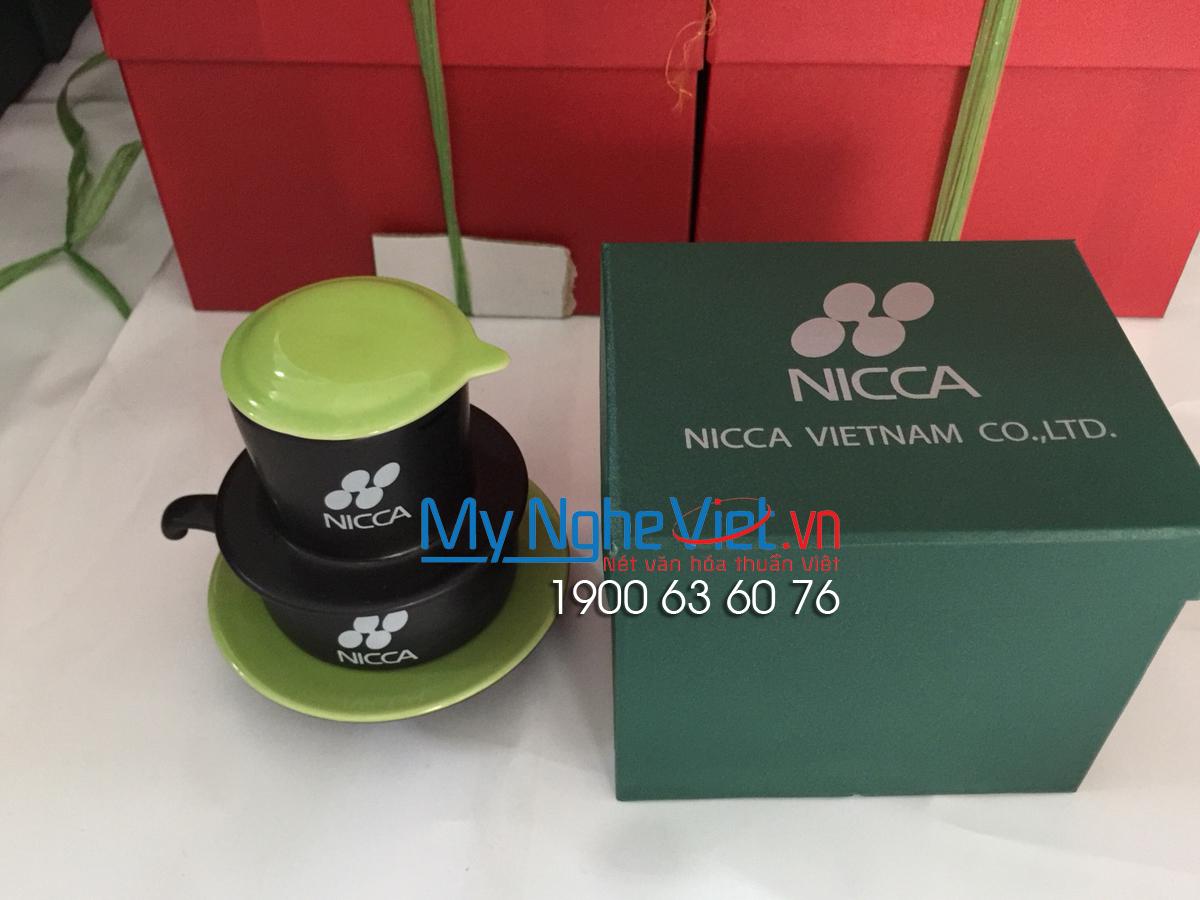 Phin cafe gốm thấp màu xanh Nicca
