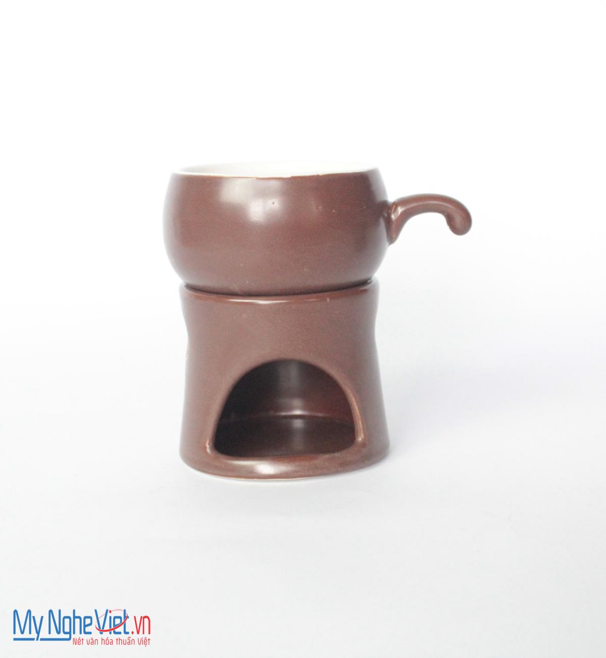 Bếp đun cafe gốm sứ nâu đất ly trắng MNV-BD04