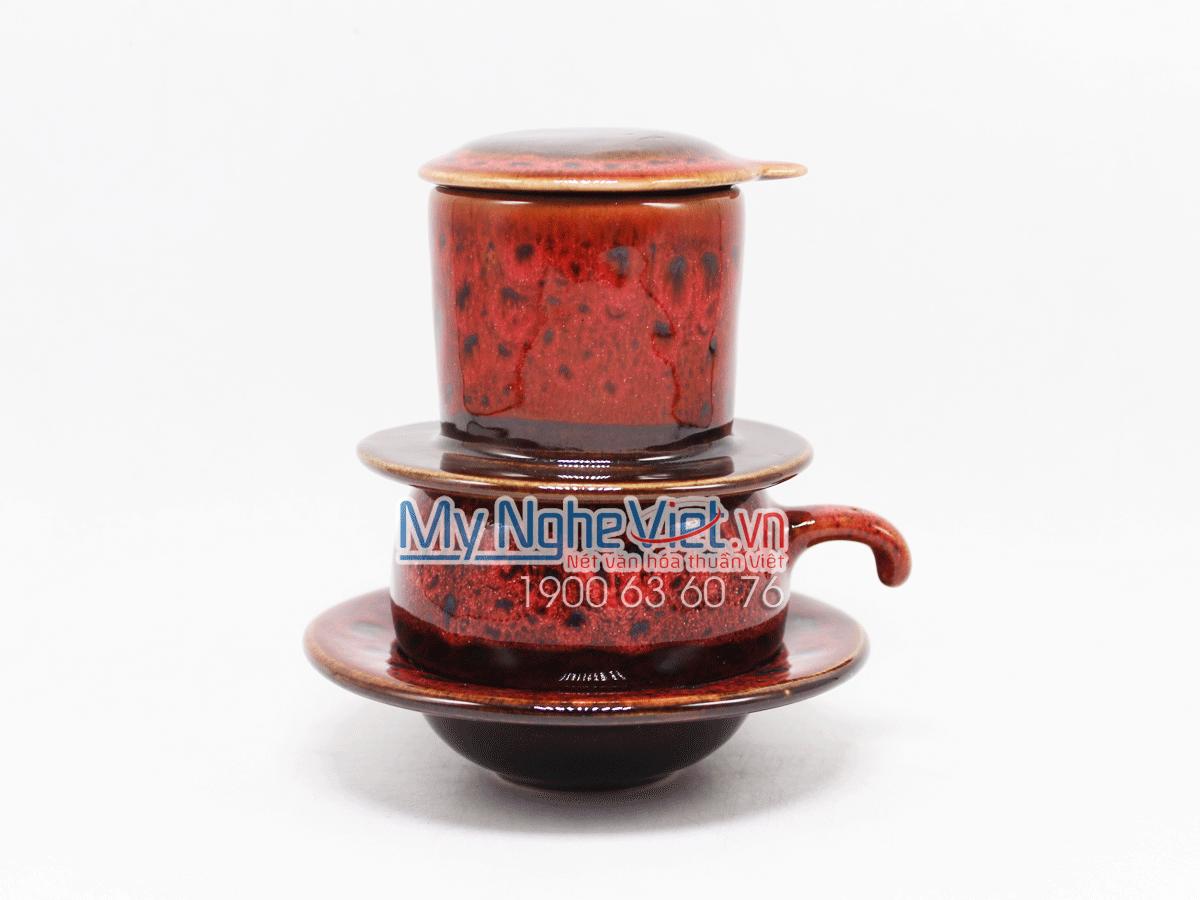 Phin cafe thấp men Hỏa Biến màu đỏ MNV-CFM001-2