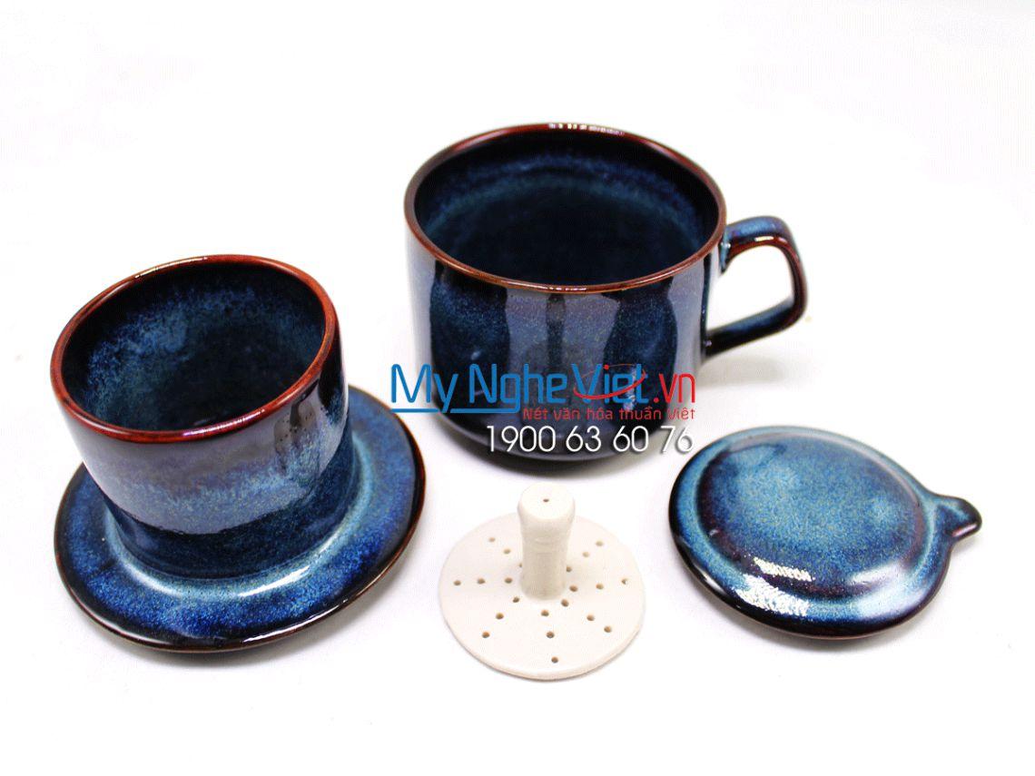 Bộ phin cafe khay vuông cốc tròn màu xanh MNV-PCP01