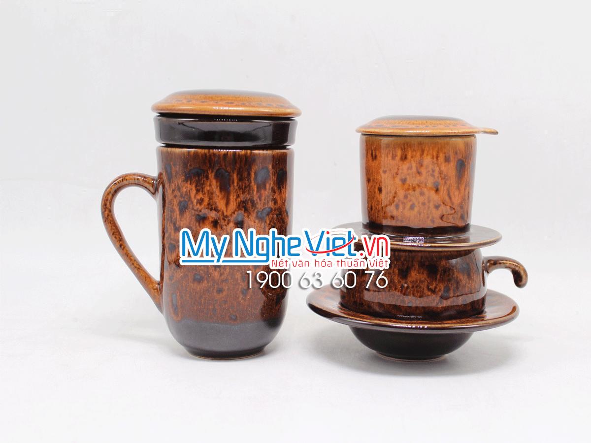 Combo ly lọc trà + phin cafe thấp men Hỏa Biến MNV-CFM001-3 màu cam