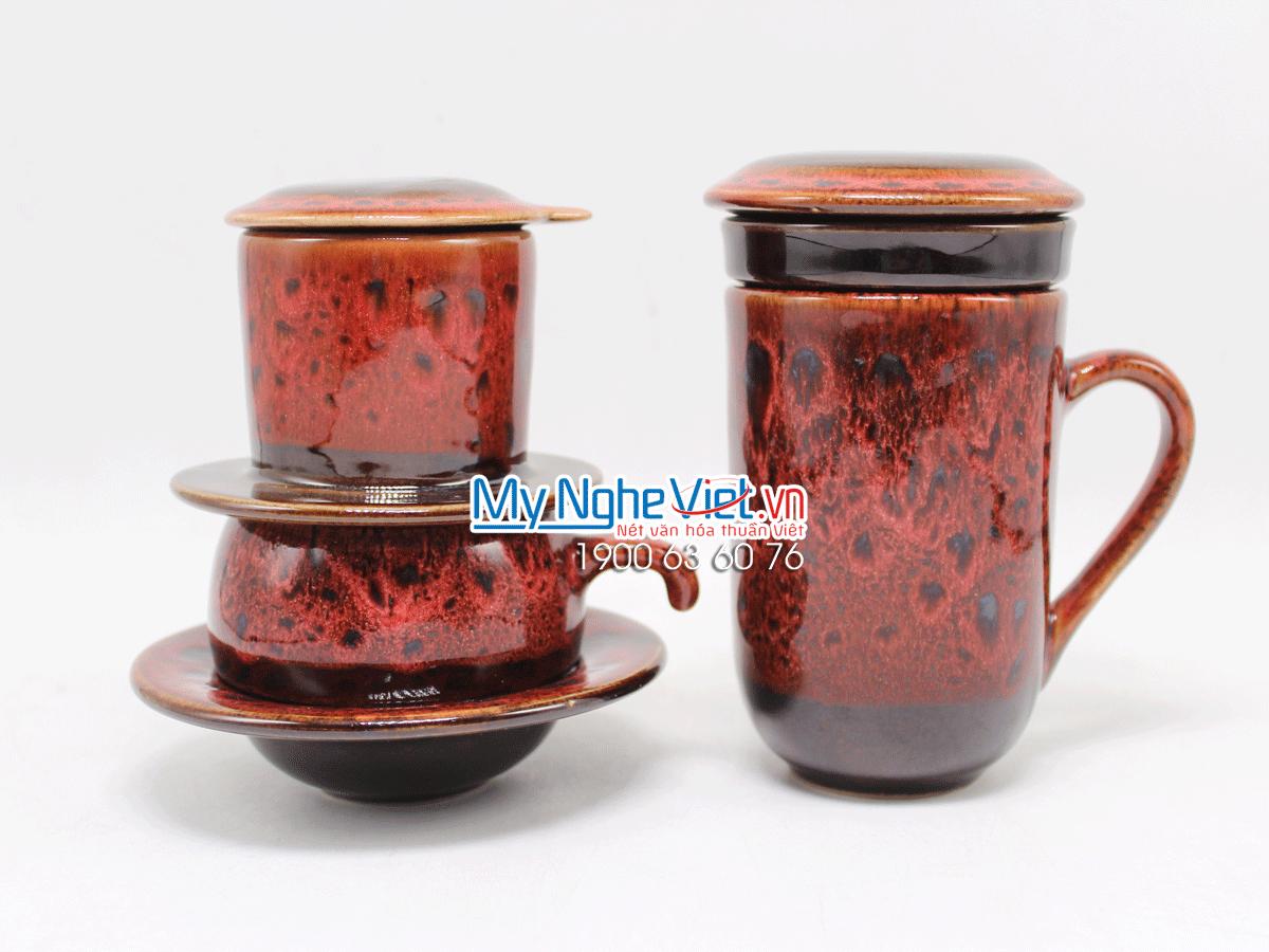 Combo ly lọc trà + phin cafe thấp men Hỏa Biến MNV-CFM001-2 màu đỏ