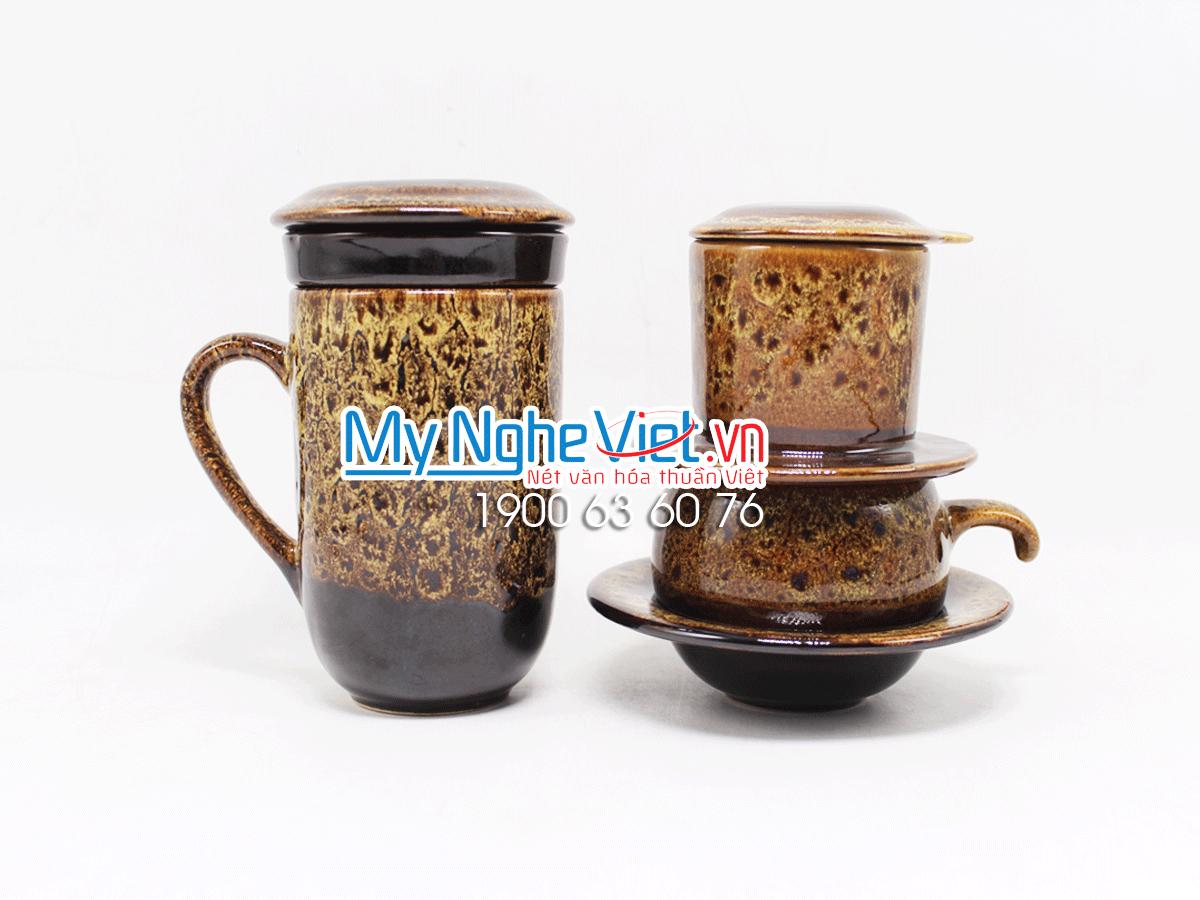 Combo ly lọc trà + phin cafe thấp men Hỏa Biến MNV-CFM001-4 màu vàng