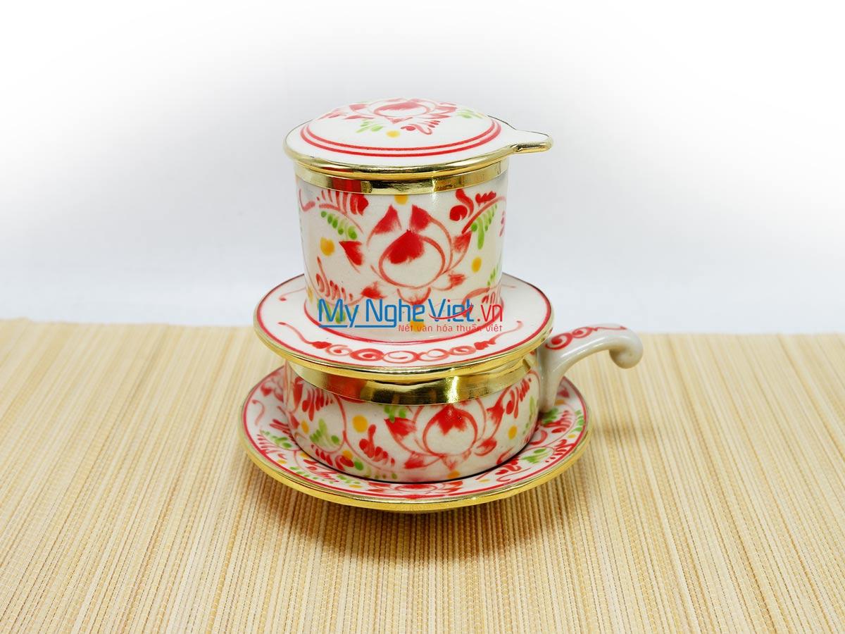 Phin Cafe Gốm Vẽ Sen Đỏ Thấp Bọc Đồng MNV-CF004/4