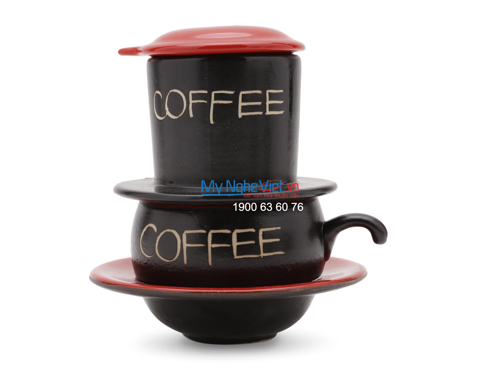Phin Cafe Gốm Bát Tràng màu Đỏ Thấp MNV-CF001