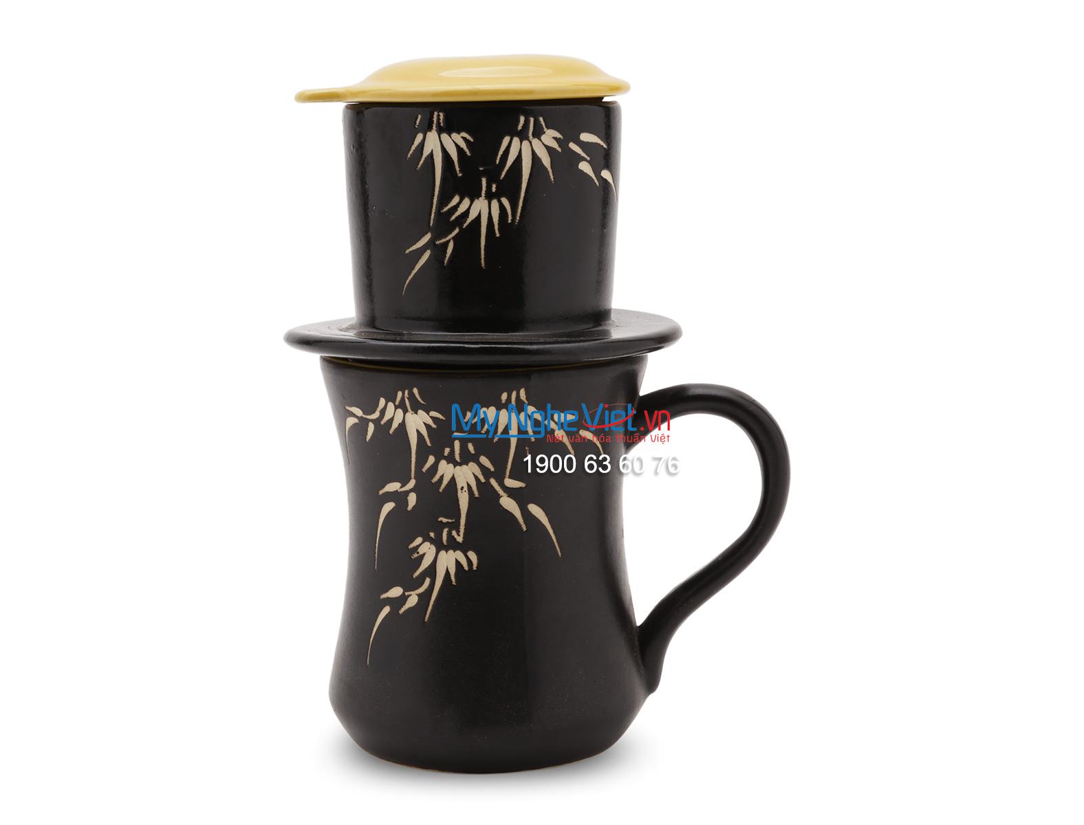 Phin Cafe Gốm Vẽ Lá Trúc Vàng MNV-CF002/1