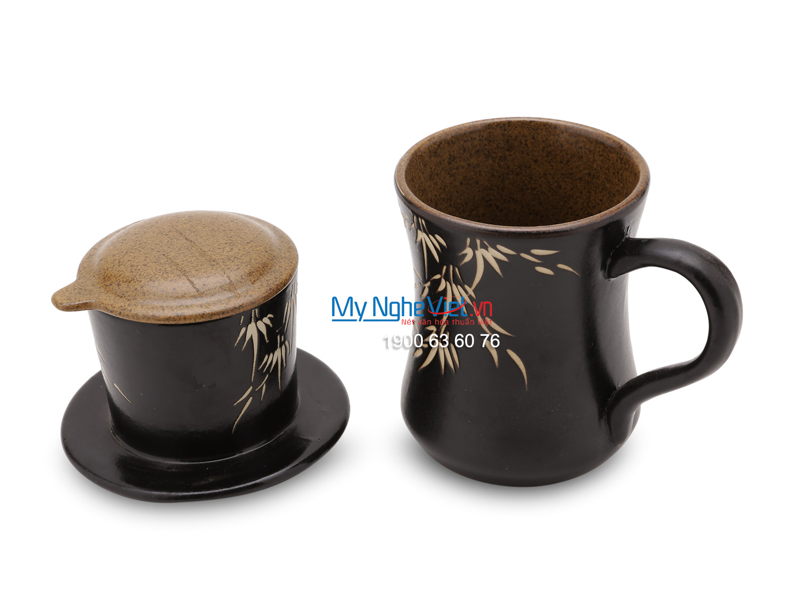 Phin Cafe Gốm Vẽ Lá Trúc Nâu MNV-CF002
