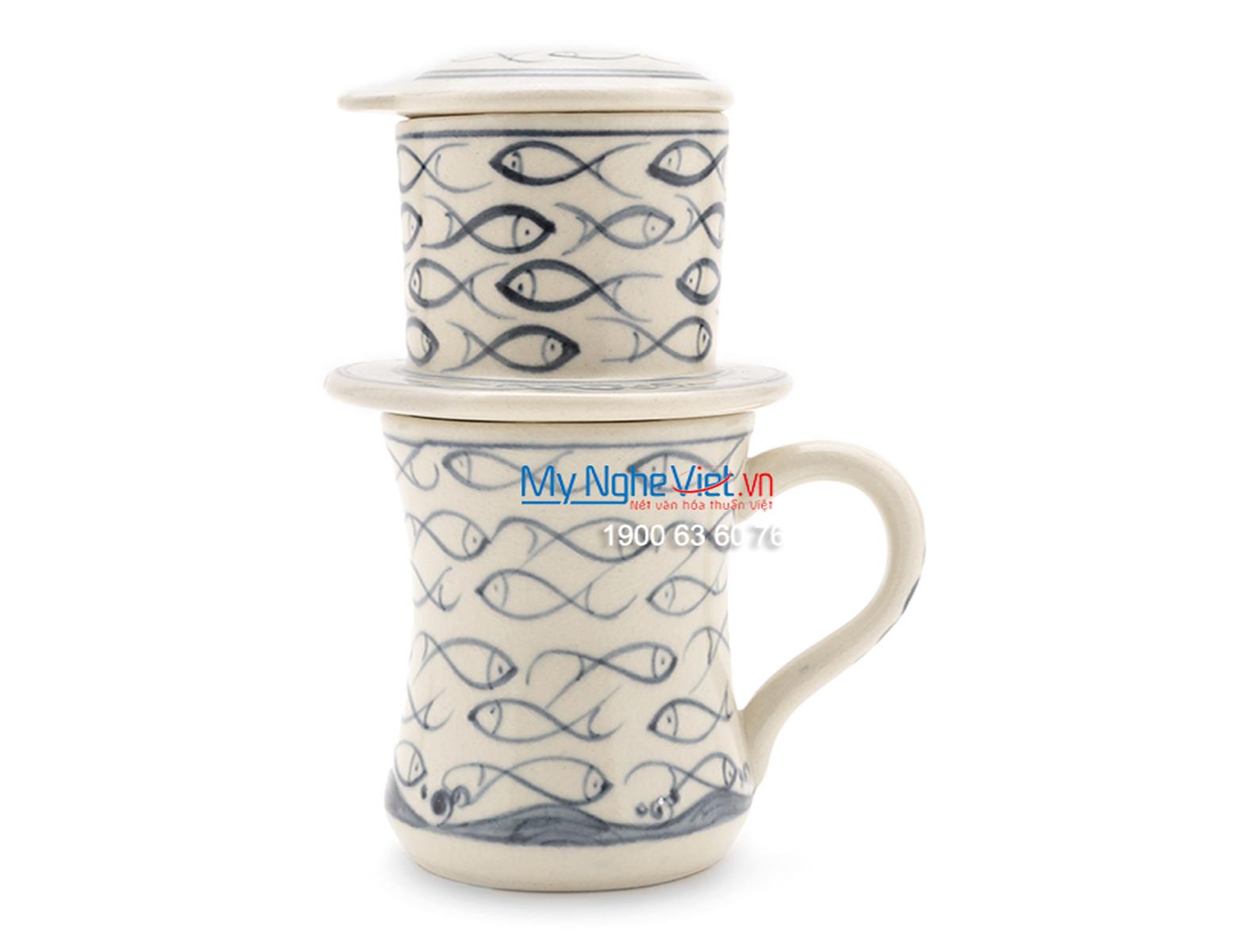 Phin Cafe Gốm Vẽ Cá Xanh Cao MNV-CFC07