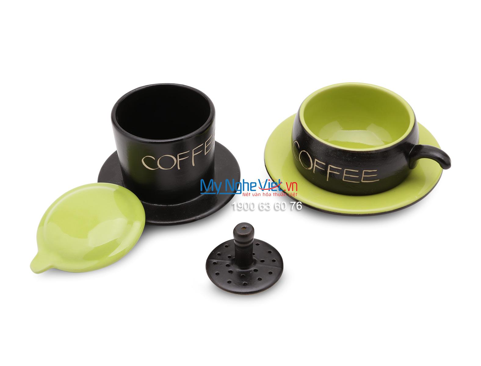 Phin Cafe Gốm Bát Tràng Màu Xanh Thấp MNV-CF001/1