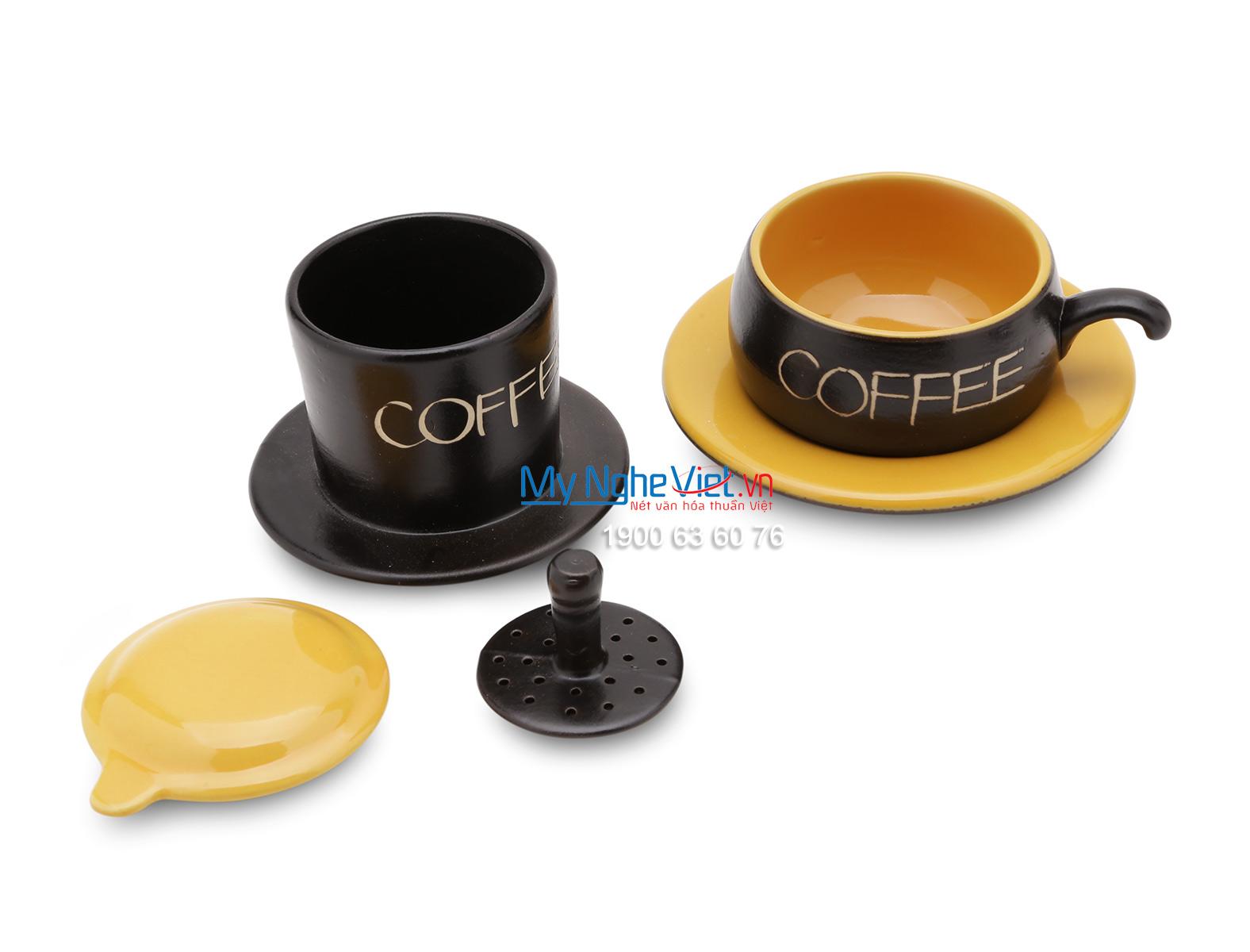 Phin Cafe Gốm Bát Tràng Màu Vàng Thấp MNV-CF001/2