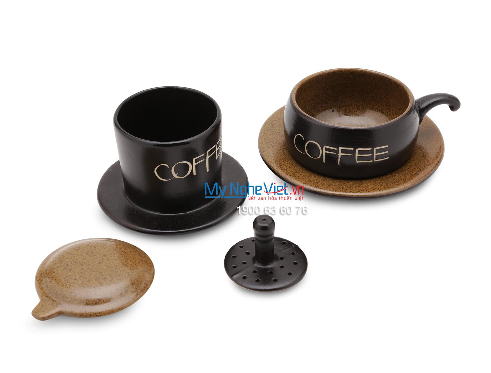 Phin Cafe Gốm Bát Tràng Màu Nâu Thấp MNV-CF001/3