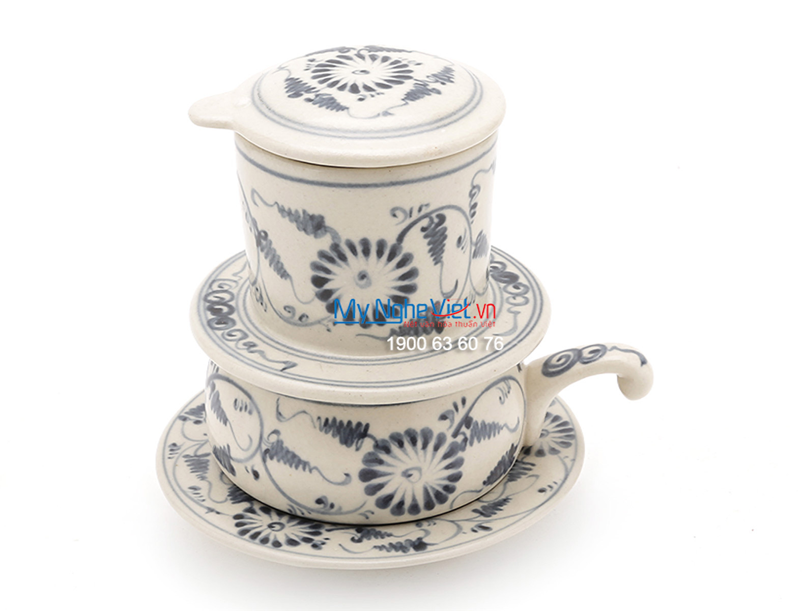 Phin Cafe Gốm Vẽ Hoa Cúc Xanh Thấp MNV-CF005/1