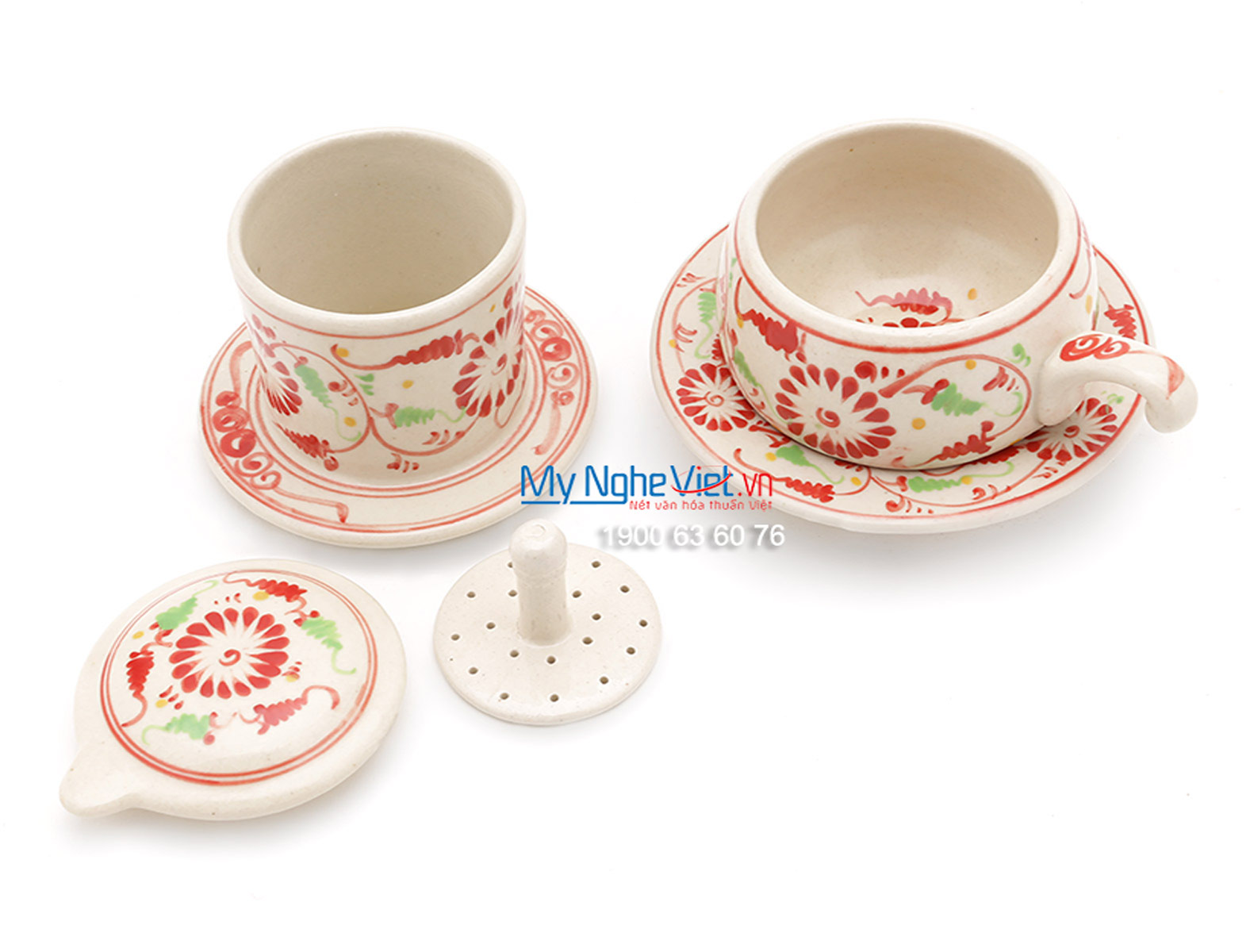 Phin Cafe Gốm Vẽ Hoa Cúc Đỏ Thấp MNV-CF005/2