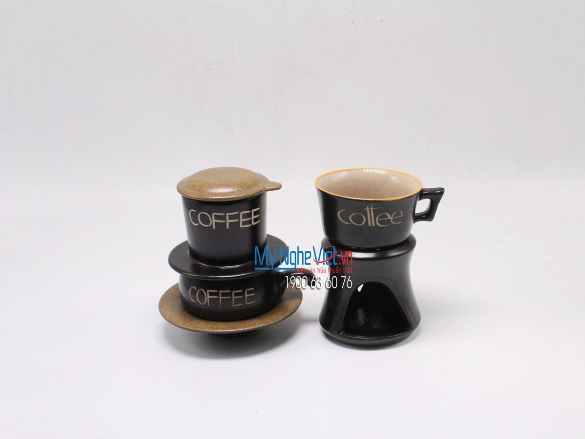 Combo Phin Cafe + Bếp đun màu nâu MNV-CF001 nâu