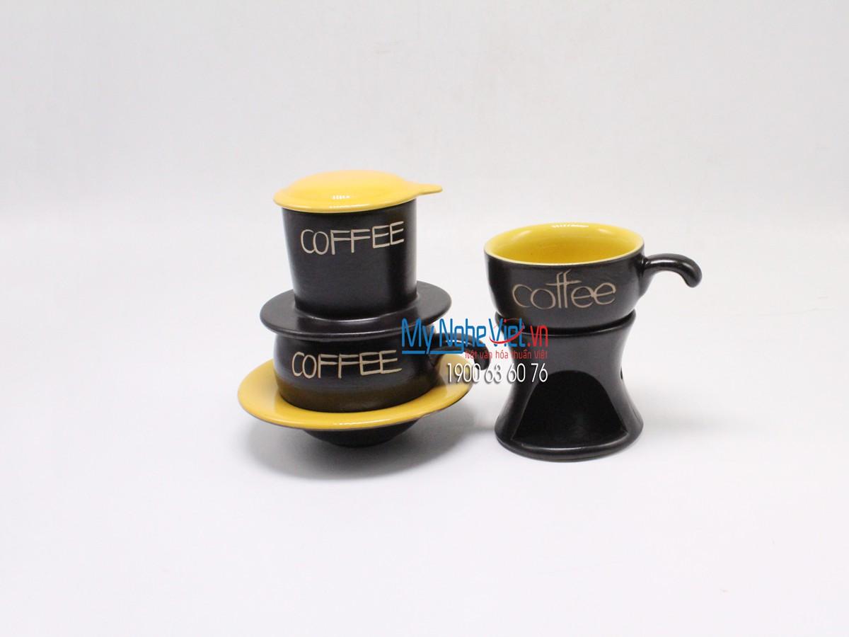 Combo Phin Cafe + Bếp đun màu vàng MNV-CF0011/2CB