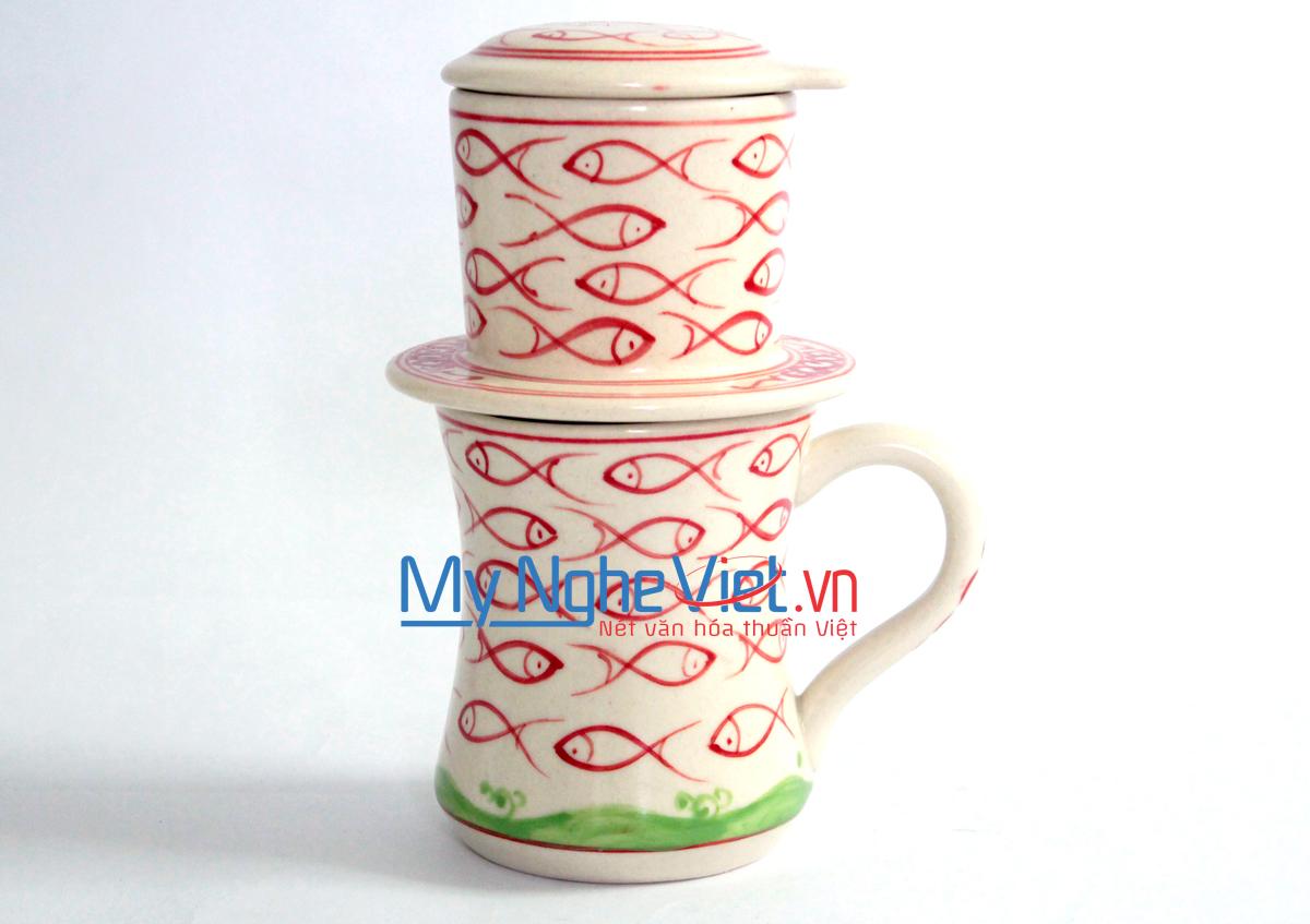 Phin cà phê ca eo vẽ cá đỏ MNV-CFC09