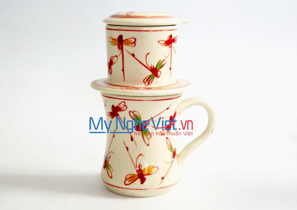 Phin Cafe Gốm Vẽ Chuồn Kim Đỏ Cao MNV-CFC08