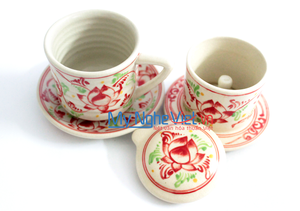 Pottery Coffee Filter with Red Lotus Flower Pattern (with saucer) MNV-CFT002