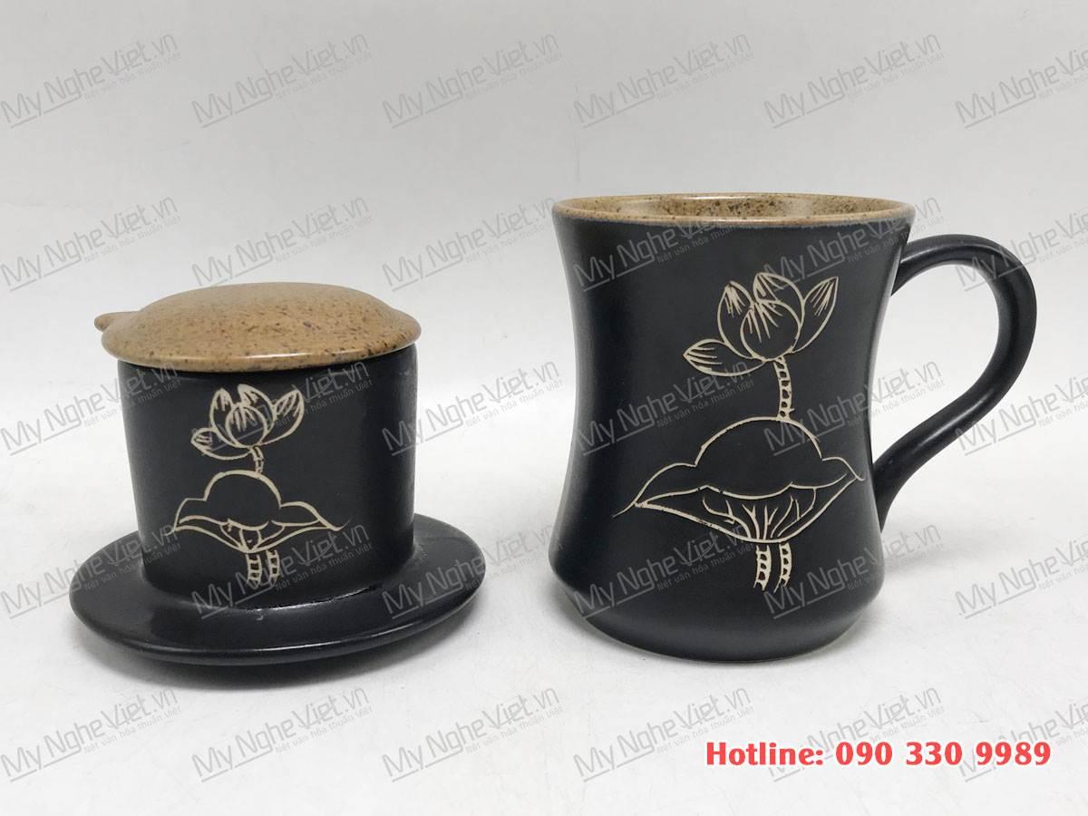 Phin Cafe Gốm Vẽ Sen MNV-CFC002-2