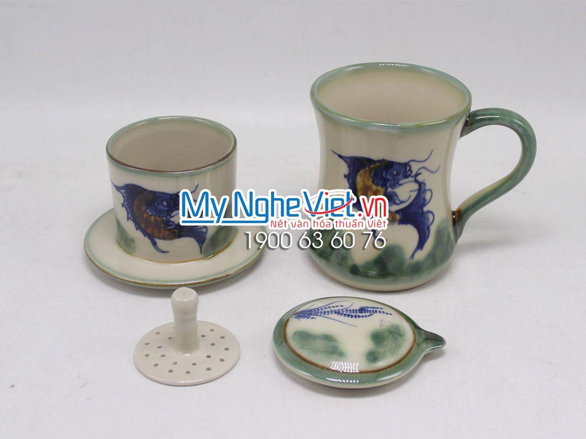 Phin Cafe Men Bóng Vẽ Cá MNV-CFV002-3
