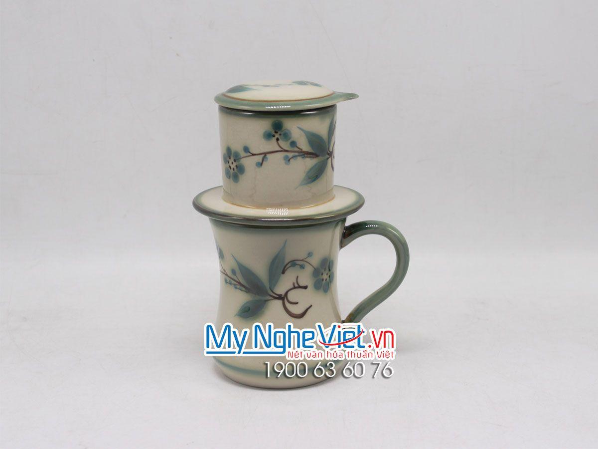 Phin Cafe Men Bóng Vẽ Đào Xanh MNV-CFV002