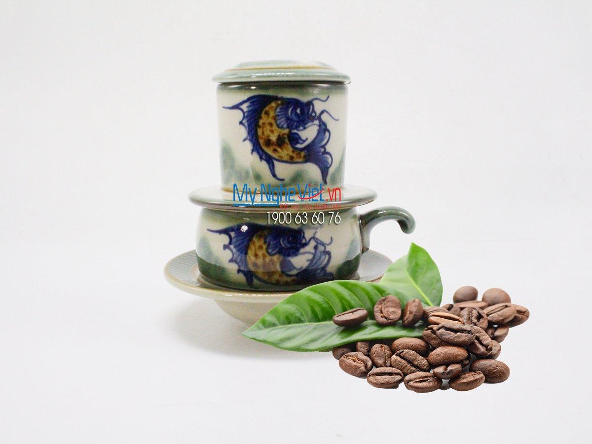 Phin Cafe Gốm Vẽ Cá Thấp MNV-CFV001
