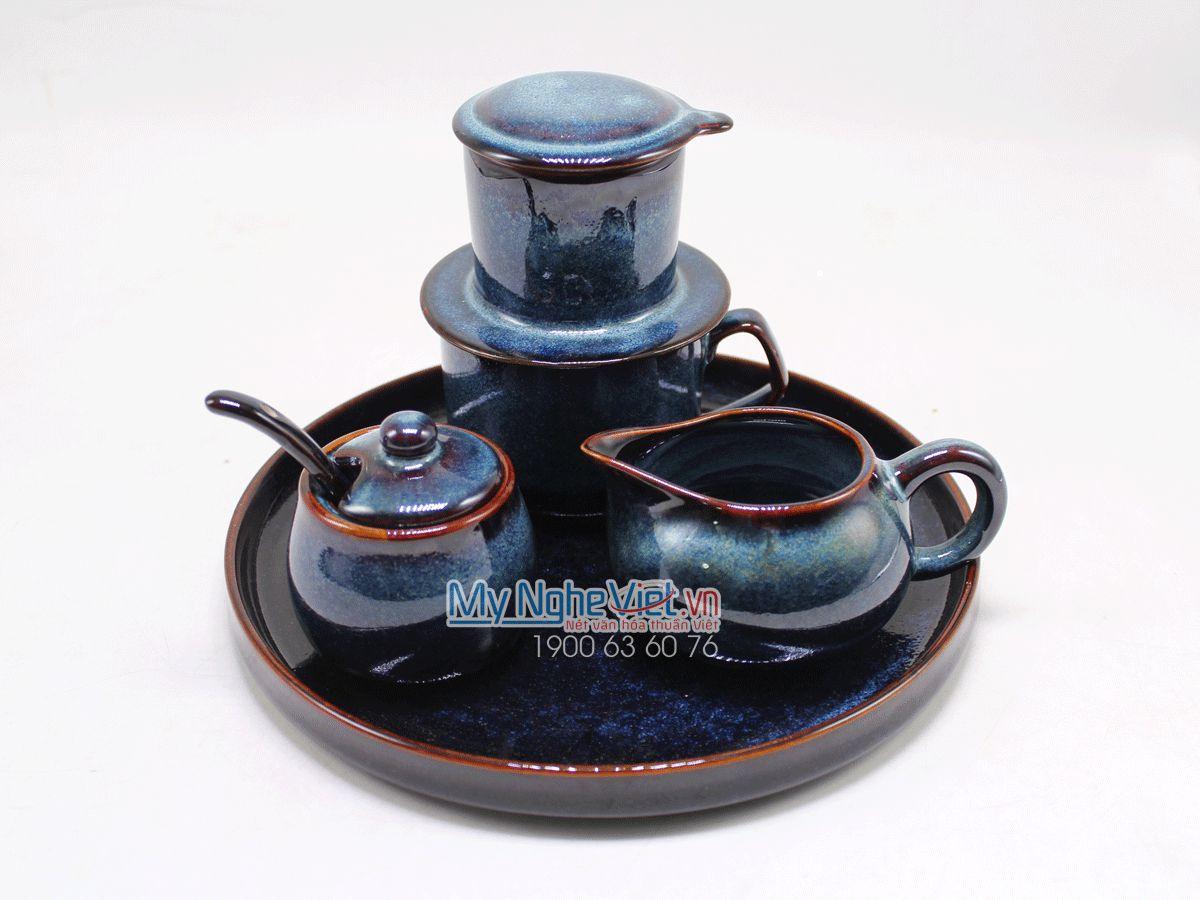 Bộ phin cafe khay cốc tròn màu xanh MNV-GHN17