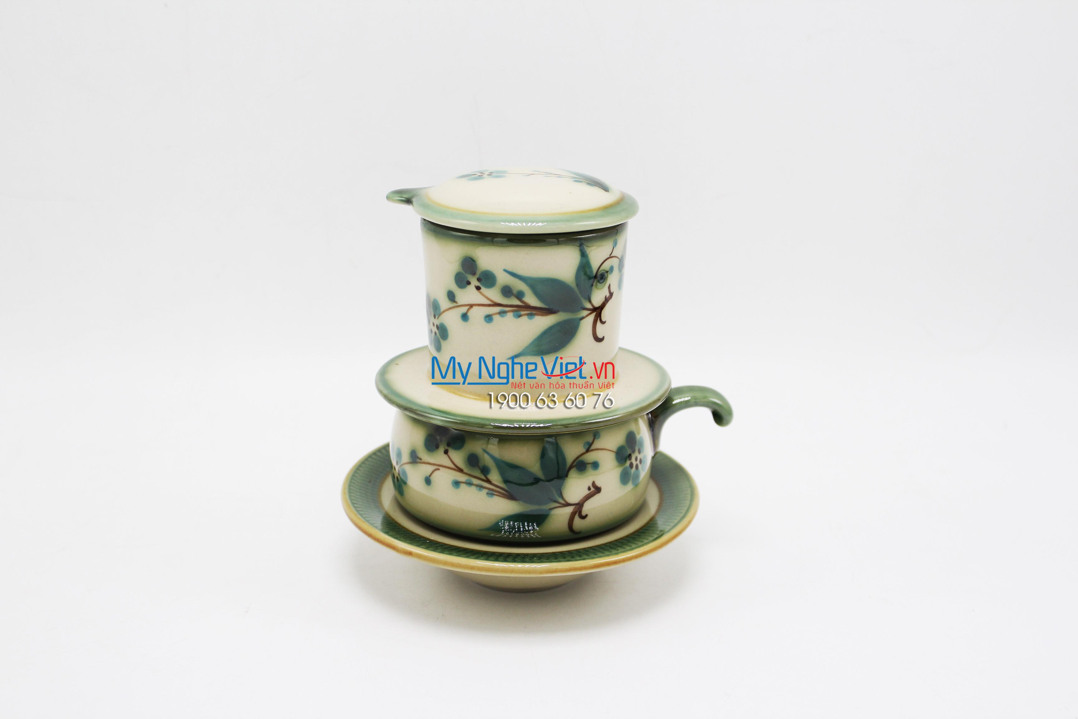 Phin Cafe Gốm Vẽ Đào Xanh Thấp MNV-CFV001-2