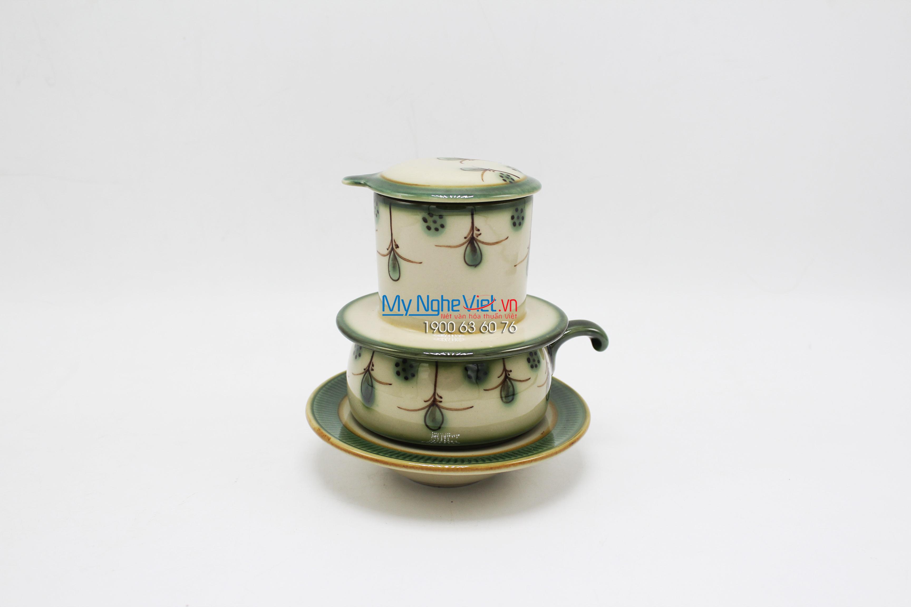 Phin Cafe Gốm Vẽ Hoa Rơi Thấp MNV-CFV001-5