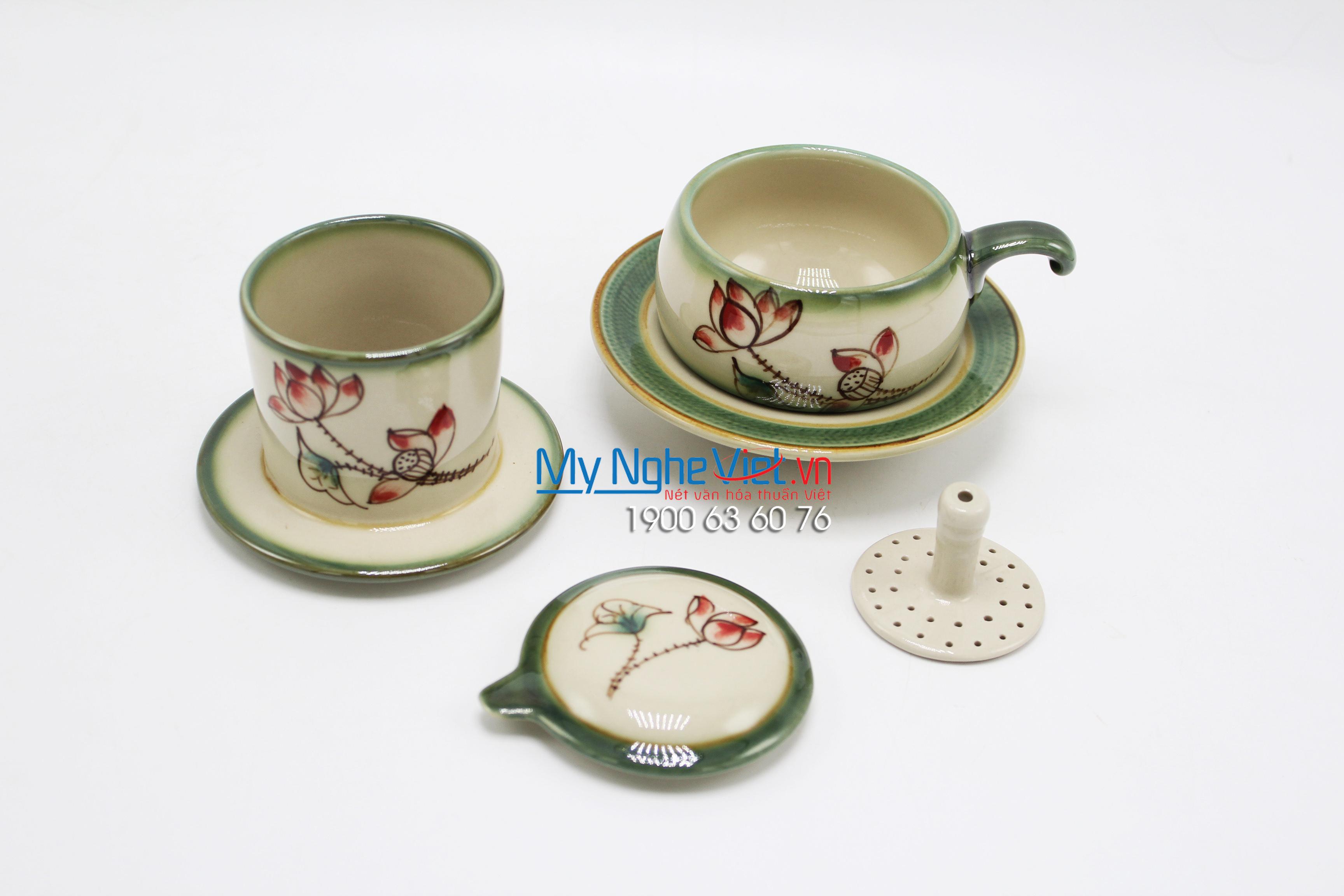 Phin Cafe Gốm Vẽ Hoa Sen Thấp MNV-CFV001-6