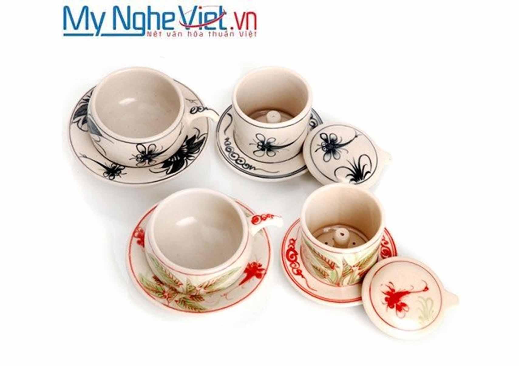 Phin cà phê gốm vẽ chuồn & cúc ly thấp MNV-CF003-0-1